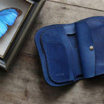 藍染レザー二つ折り財布