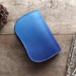 藍染レザー二つ折り財布天藍