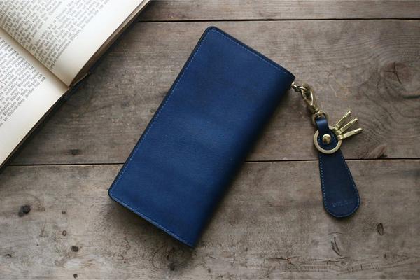 藍染レザーカスタム長財布