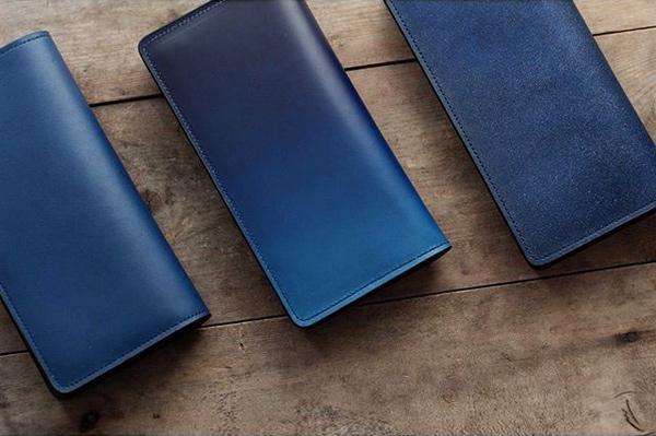 藍染革長財布三種(藍、天藍、数多)