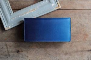 藍染革長財布(天藍)