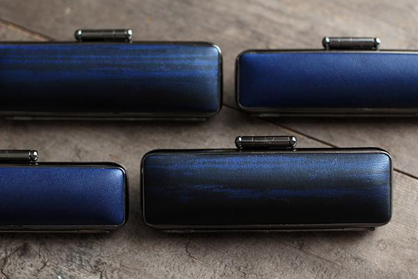 藍染レザー印章ケース