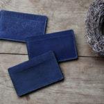 藍染レザーカードケース三種