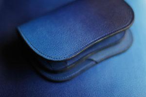 藍染革[shiboai] 二つ折り財布 天藍