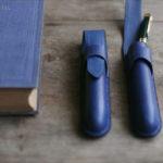 藍染レザー一本差しペンケース