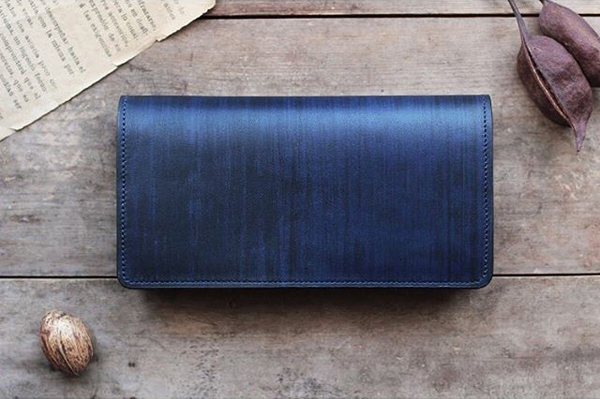 藍染レザー長財布墨縞