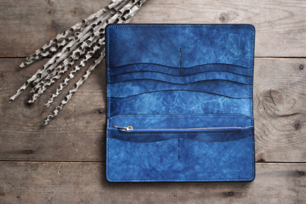 天藍×海光 藍染めレザー長財布