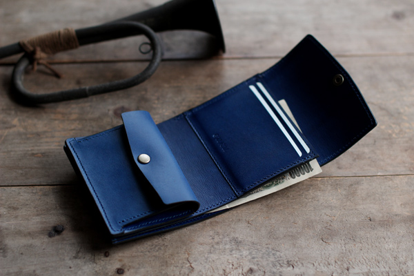 藍染レザーコンパクト財布