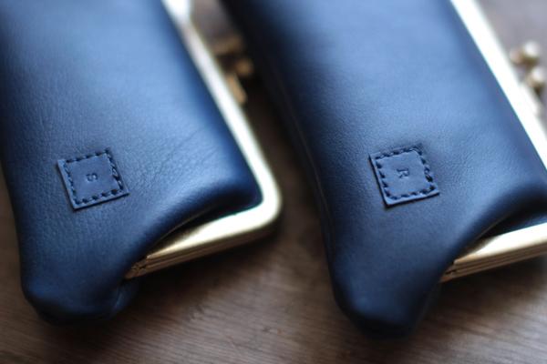 藍染レザーがま口&カードケース