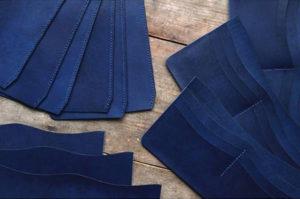 藍染レザー長財布のパーツ
