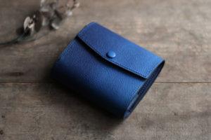 藍染革[migaki&shiboai]コンパクト財布(天藍)