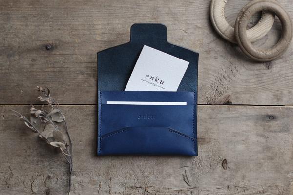 藍染レザー封筒型名刺入れ