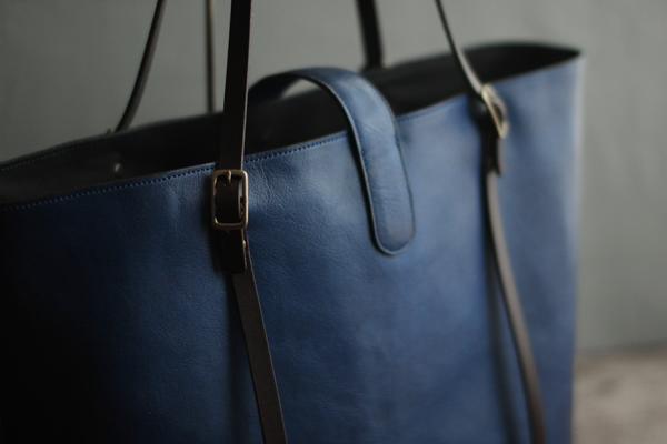 藍染レザートートバッグ
