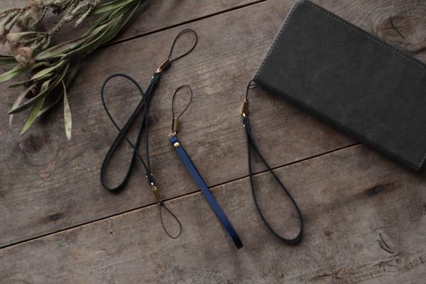 藍染革携帯ストラップ