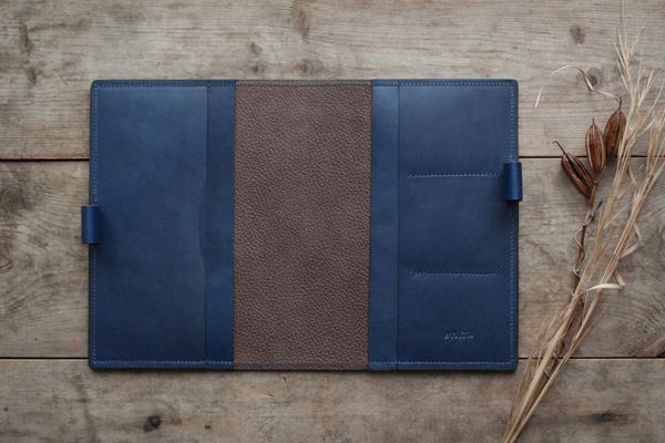 藍染レザーB6サイズ手帳カバー