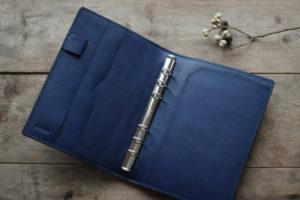 シルバーと藍のバイブルサイズシステム手帳