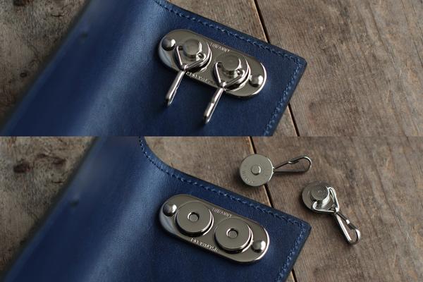 藍染レザーマグネットキーケース
