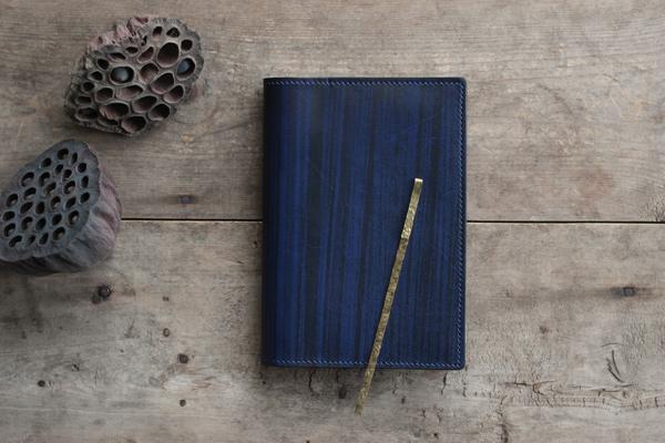 藍染レザー文庫本手帳カバー